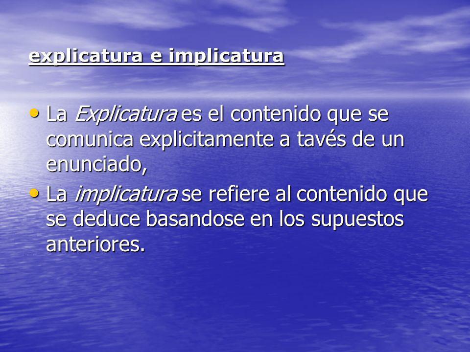Determinación de las explicaturas: La primera tarea del destinatario es descodificar correctamente un enunciado.