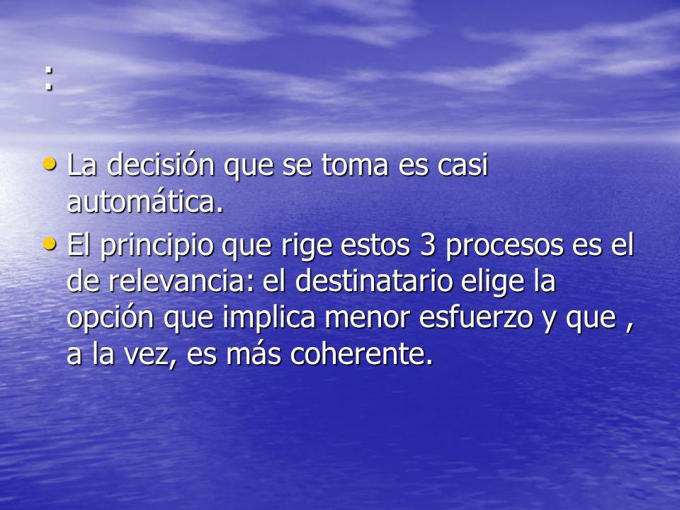 : La decisión que se toma es casi automática. La decisión que se toma es casi automática. El principio que rige estos 3 procesos es el de relevancia: