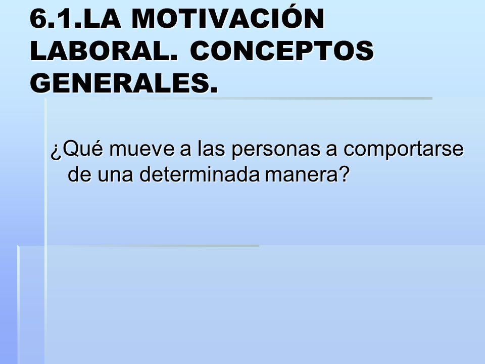 6.1.LA MOTIVACIÓN LABORAL. CONCEPTOS GENERALES. ¿Qué mueve a las personas a comportarse de una determinada manera?
