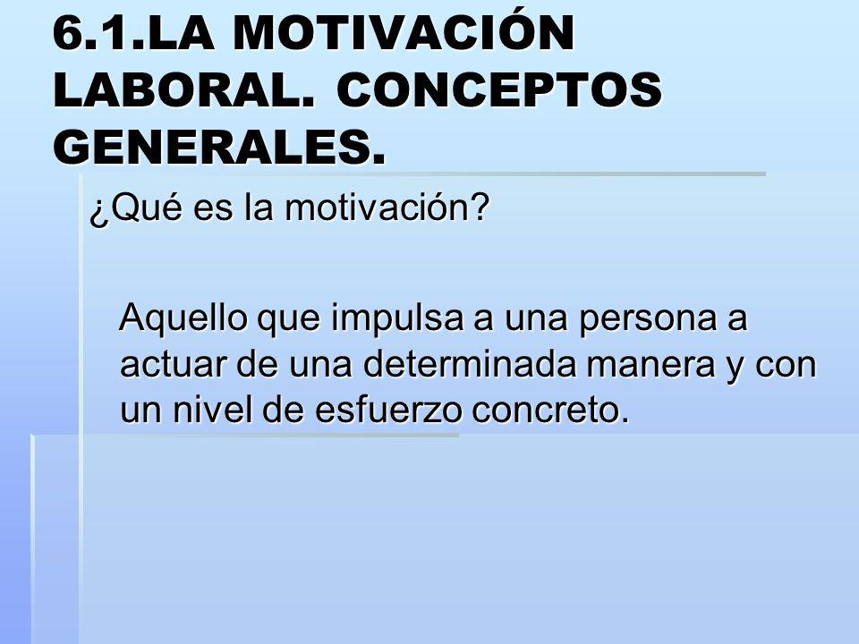 6.1.LA MOTIVACIÓN LABORAL. CONCEPTOS GENERALES. ¿Qué es la motivación? Aquello que impulsa a una persona a actuar de una determinada manera y con un n