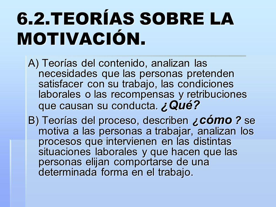 6.2.TEORÍAS SOBRE LA MOTIVACIÓN. A) Teorías del contenido, analizan las necesidades que las personas pretenden satisfacer con su trabajo, las condicio