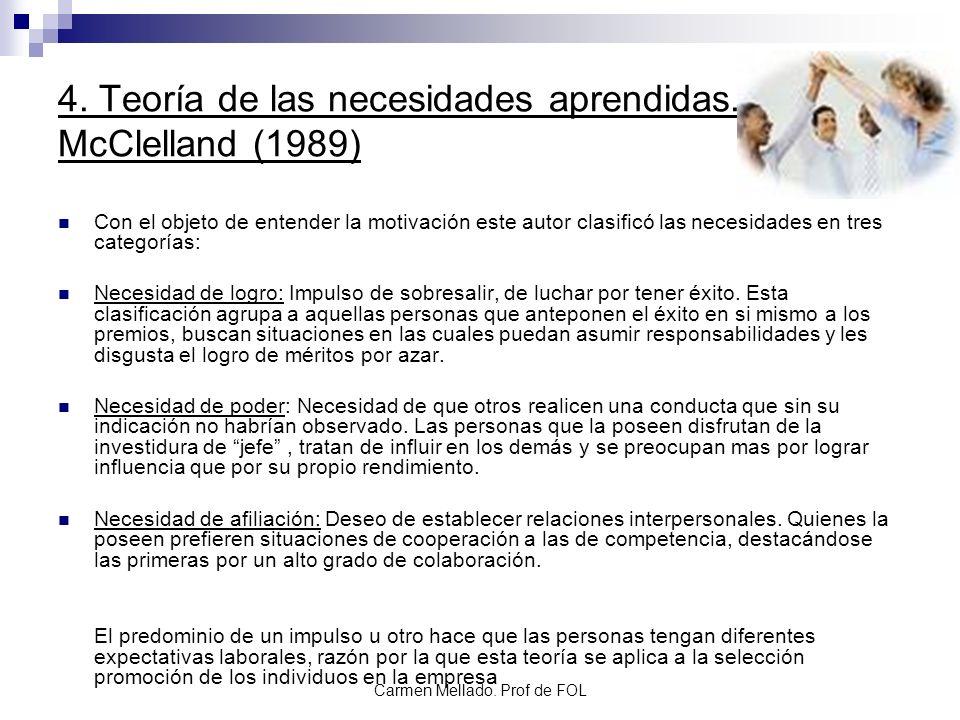Carmen Mellado. Prof de FOL 4. Teoría de las necesidades aprendidas. McClelland (1989) Con el objeto de entender la motivación este autor clasificó la