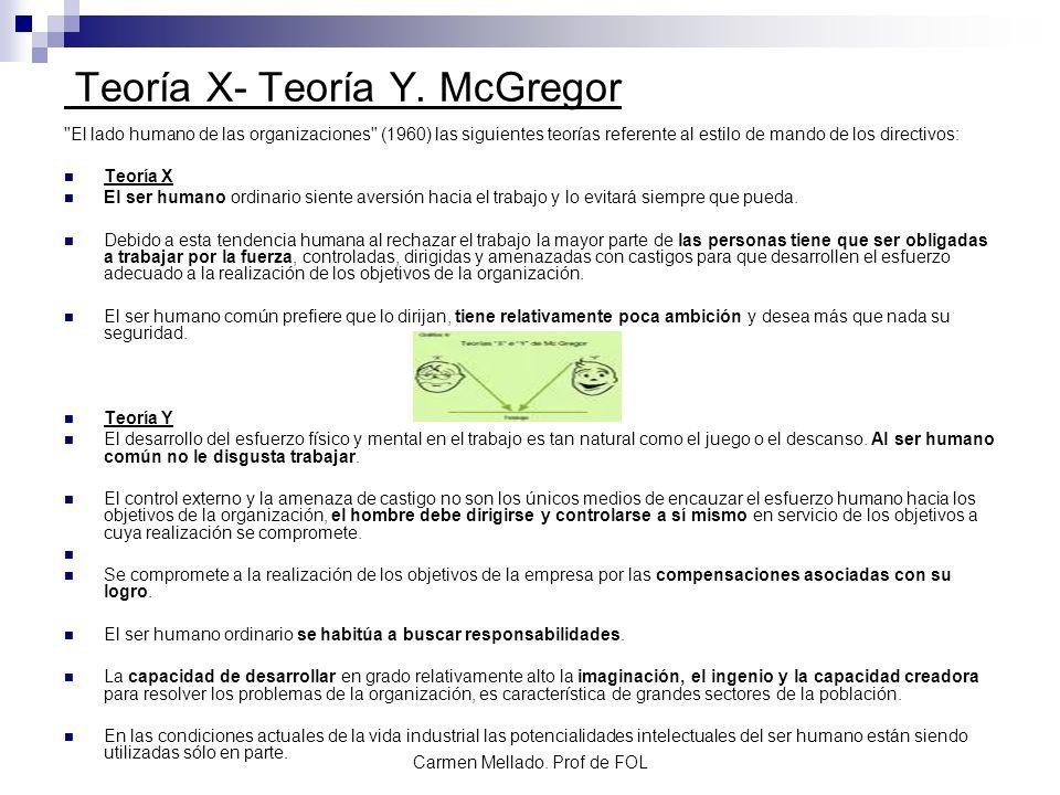 Carmen Mellado. Prof de FOL Teoría X- Teoría Y. McGregor