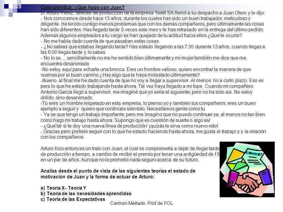 Carmen Mellado. Prof de FOL 1.Caso práctico: ¿Qué hago con Juan? D. Arturo Pérez, director de producción de la empresa Textil SA llamó a su despacho a