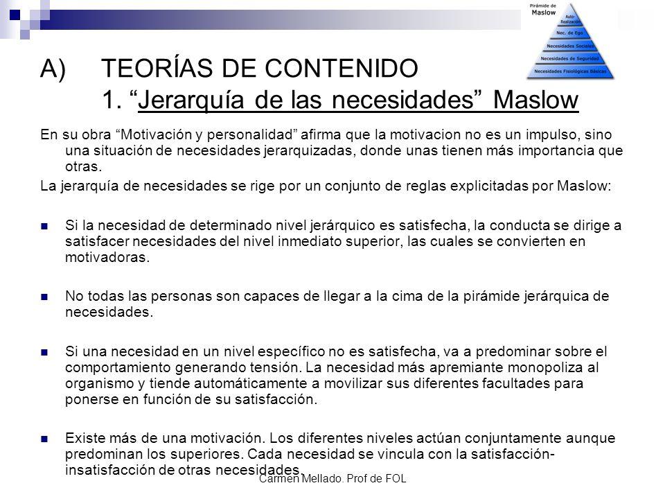 Carmen Mellado. Prof de FOL A)TEORÍAS DE CONTENIDO 1. Jerarquía de las necesidades Maslow En su obra Motivación y personalidad afirma que la motivacio
