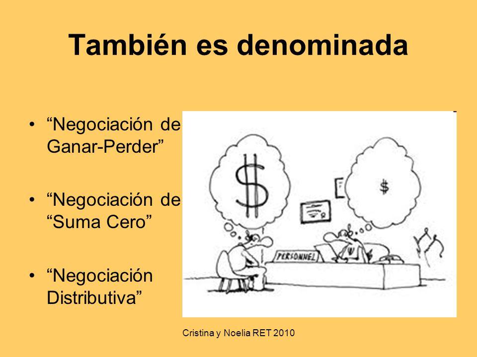 Cristina y Noelia RET 2010 También es denominada Negociación de Ganar-Perder Negociación de Suma Cero Negociación Distributiva