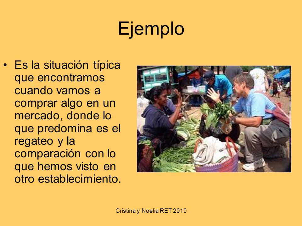 Cristina y Noelia RET 2010 Ejemplo Es la situación típica que encontramos cuando vamos a comprar algo en un mercado, donde lo que predomina es el rega