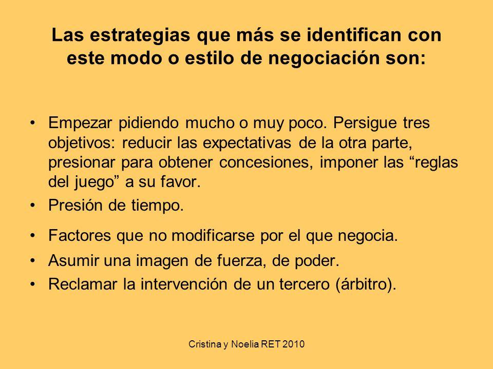 Cristina y Noelia RET 2010 Las estrategias que más se identifican con este modo o estilo de negociación son: Empezar pidiendo mucho o muy poco. Persig