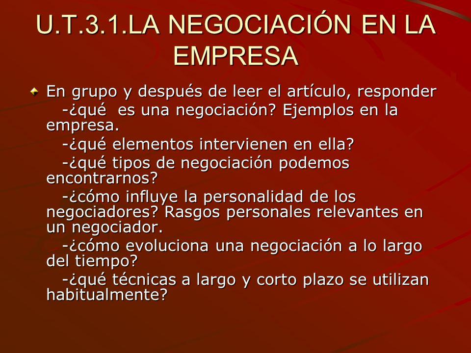 U.T.3.1.LA NEGOCIACIÓN EN LA EMPRESA En grupo y después de leer el artículo, responder -¿qué es una negociación? Ejemplos en la empresa. -¿qué es una