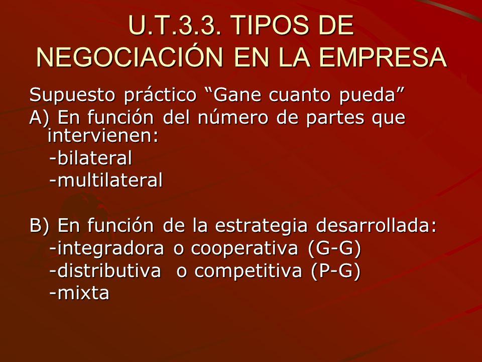 U.T.3.3. TIPOS DE NEGOCIACIÓN EN LA EMPRESA Supuesto práctico Gane cuanto pueda A) En función del número de partes que intervienen: -bilateral -bilate