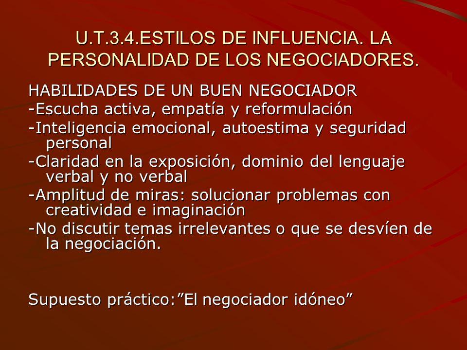 U.T.3.4.ESTILOS DE INFLUENCIA. LA PERSONALIDAD DE LOS NEGOCIADORES. HABILIDADES DE UN BUEN NEGOCIADOR -Escucha activa, empatía y reformulación -Inteli