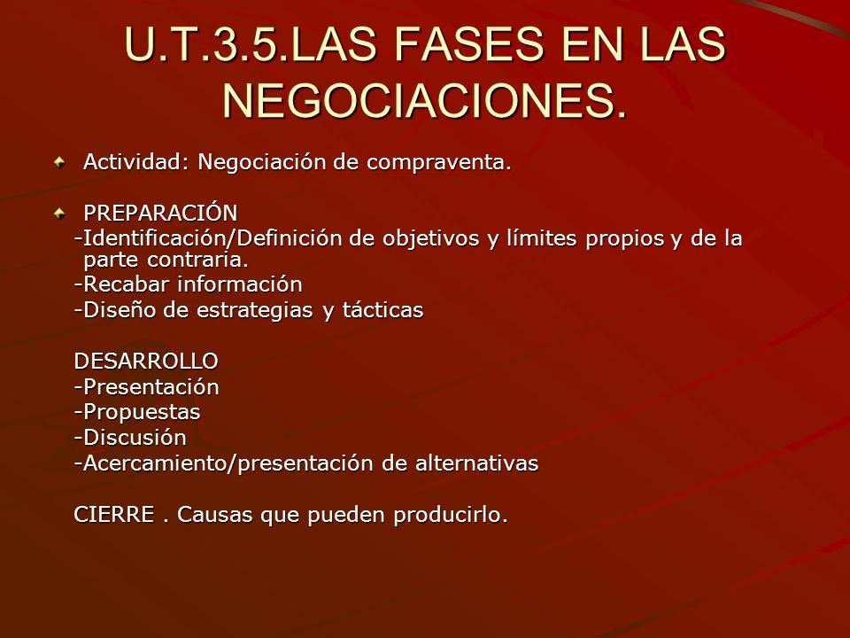 U.T.3.5.LAS FASES EN LAS NEGOCIACIONES. Actividad: Negociación de compraventa. PREPARACIÓN -Identificación/Definición de objetivos y límites propios y