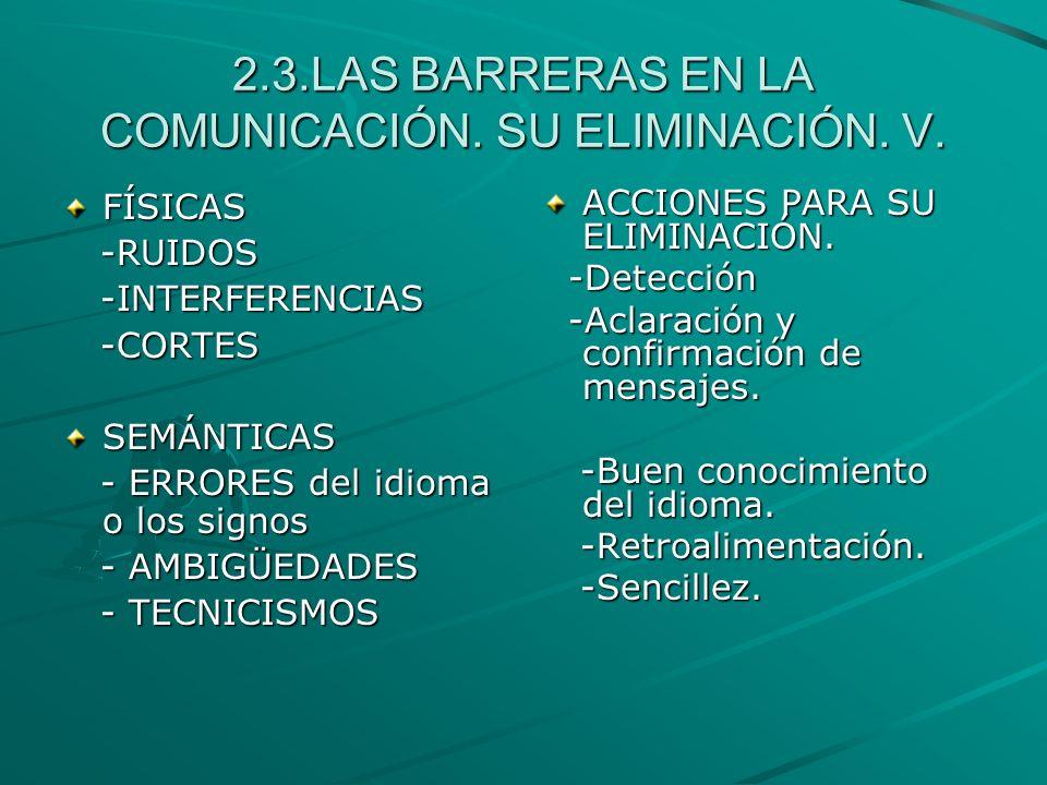 2.3.LAS BARRERAS EN LA COMUNICACIÓN. SU ELIMINACIÓN. V. FÍSICAS -RUIDOS -RUIDOS -INTERFERENCIAS -INTERFERENCIAS -CORTES -CORTESSEMÁNTICAS - ERRORES de