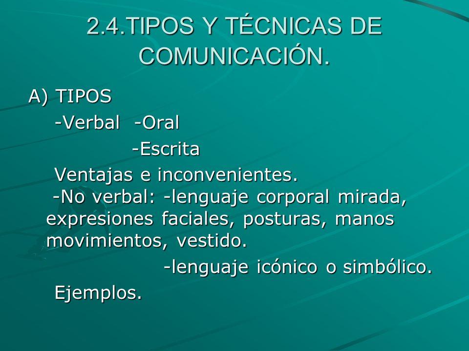 2.4.TIPOS Y TÉCNICAS DE COMUNICACIÓN. A) TIPOS -Verbal -Oral -Verbal -Oral -Escrita -Escrita Ventajas e inconvenientes. -No verbal: -lenguaje corporal