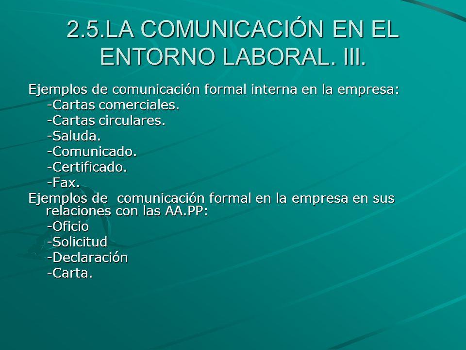 2.5.LA COMUNICACIÓN EN EL ENTORNO LABORAL. III. Ejemplos de comunicación formal interna en la empresa: -Cartas comerciales. -Cartas comerciales. -Cart