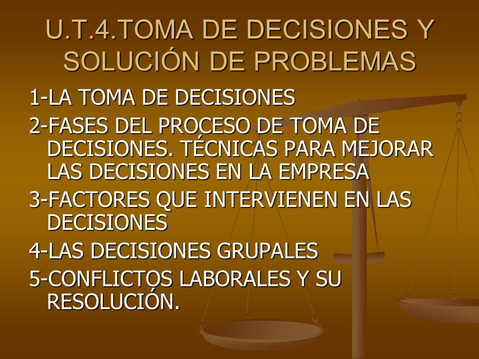 U.T.4.TOMA DE DECISIONES Y SOLUCIÓN DE PROBLEMAS 1-LA TOMA DE DECISIONES 2-FASES DEL PROCESO DE TOMA DE DECISIONES. TÉCNICAS PARA MEJORAR LAS DECISION