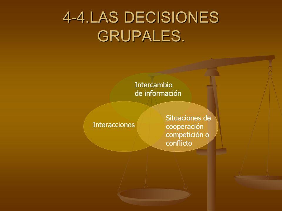 4-4.LAS DECISIONES GRUPALES. Intercambio de información Interacciones Situaciones de cooperación competición o conflicto