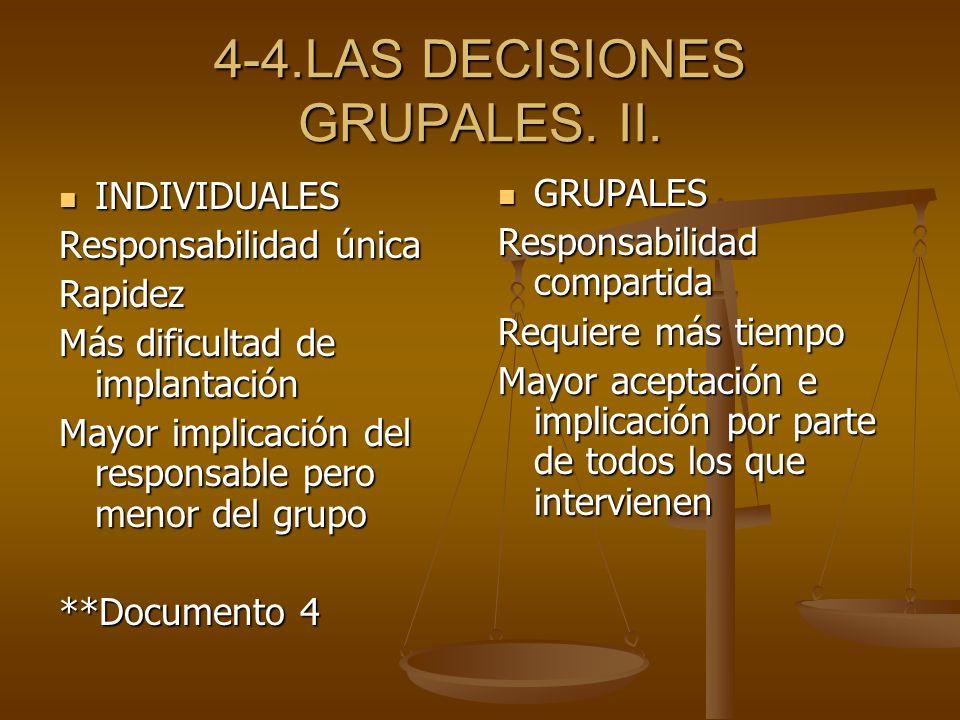 4-4.LAS DECISIONES GRUPALES. II. INDIVIDUALES INDIVIDUALES Responsabilidad única Rapidez Más dificultad de implantación Mayor implicación del responsa