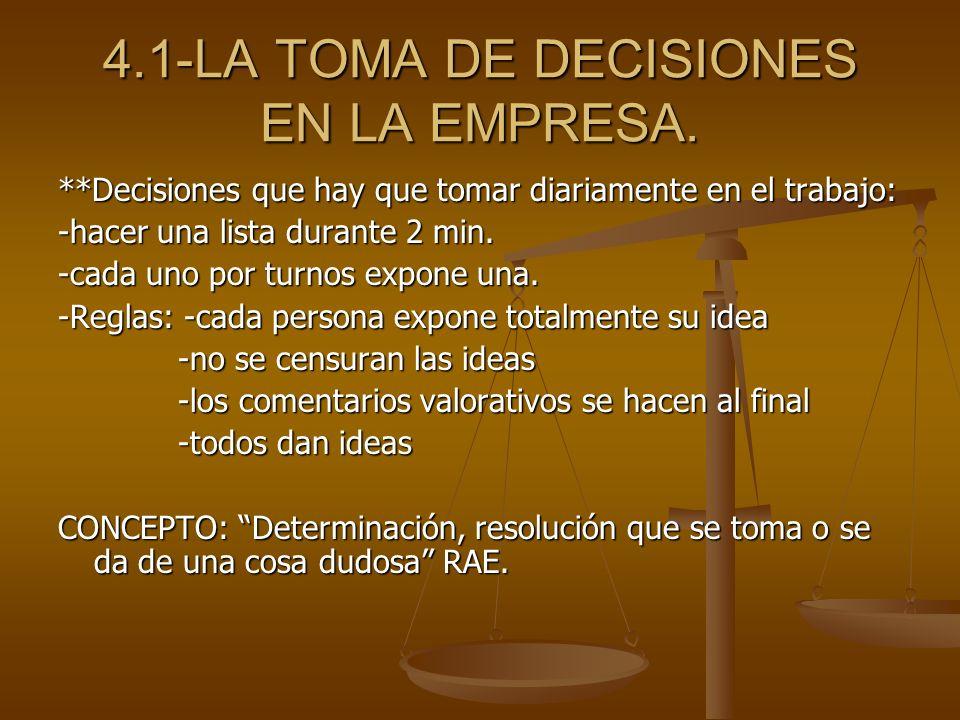 4.1-LA TOMA DE DECISIONES EN LA EMPRESA. **Decisiones que hay que tomar diariamente en el trabajo: -hacer una lista durante 2 min. -cada uno por turno