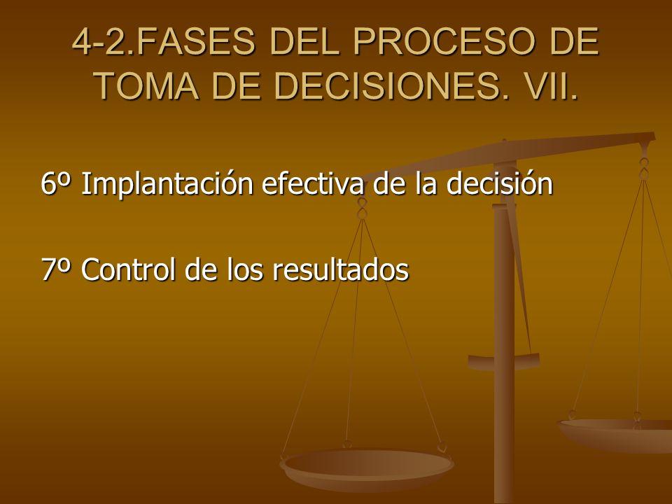 4-2.FASES DEL PROCESO DE TOMA DE DECISIONES. VII. 6º Implantación efectiva de la decisión 7º Control de los resultados