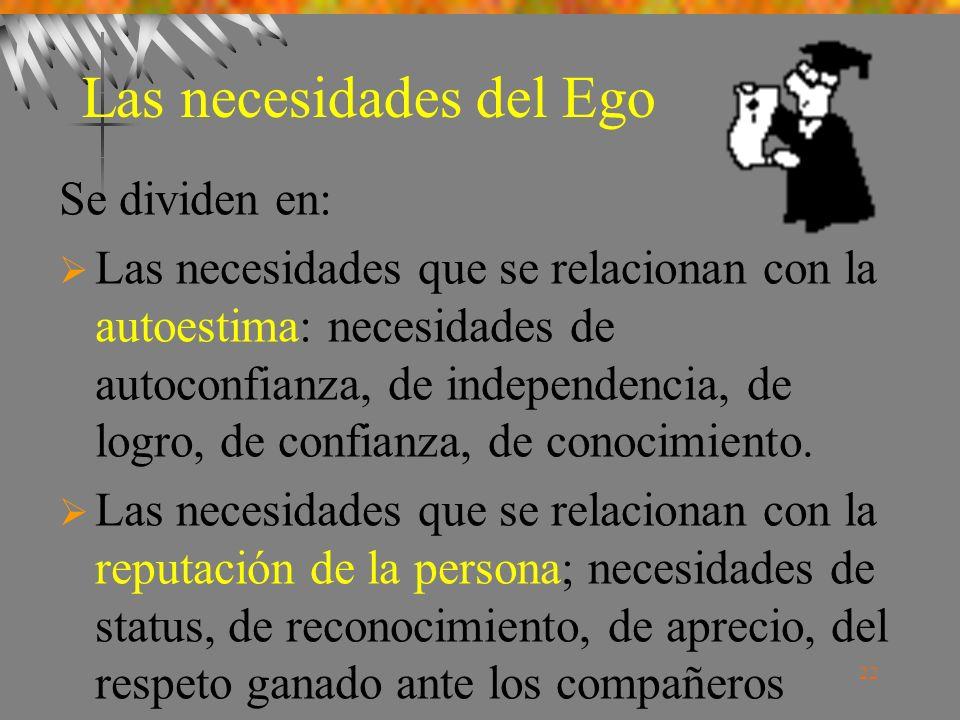 22 Las necesidades del Ego Se dividen en: Las necesidades que se relacionan con la autoestima: necesidades de autoconfianza, de independencia, de logro, de confianza, de conocimiento.