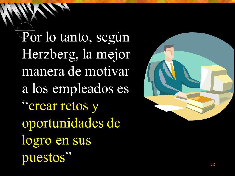 28 Por lo tanto, según Herzberg, la mejor manera de motivar a los empleados escrear retos y oportunidades de logro en sus puestos