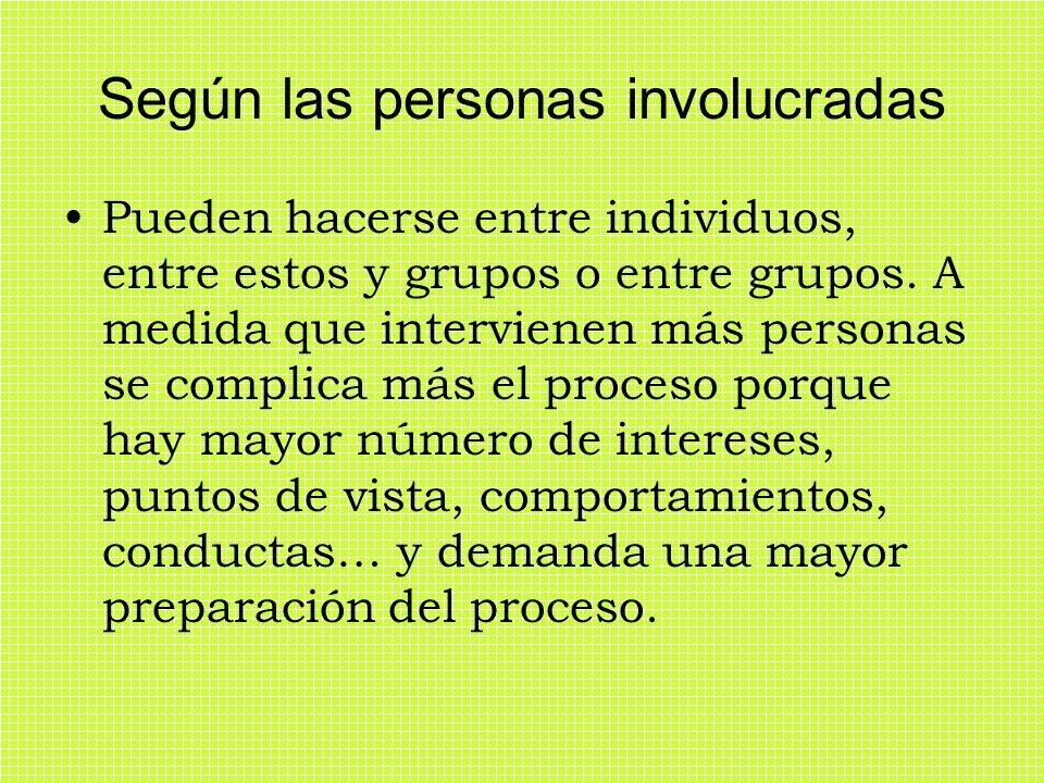 Según las personas involucradas Pueden hacerse entre individuos, entre estos y grupos o entre grupos. A medida que intervienen más personas se complic