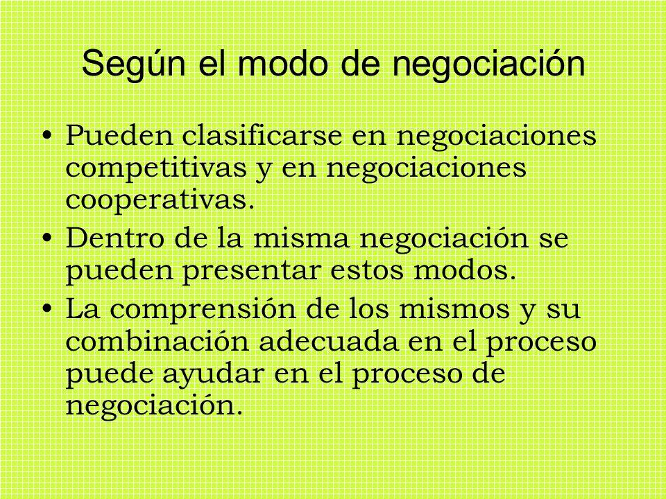 Según el modo de negociación Pueden clasificarse en negociaciones competitivas y en negociaciones cooperativas. Dentro de la misma negociación se pued