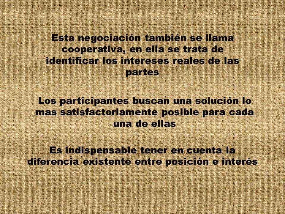 Esta negociación también se llama cooperativa, en ella se trata de identificar los intereses reales de las partes Los participantes buscan una solució
