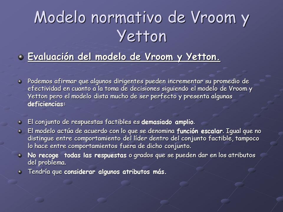 Modelo normativo de Vroom y Yetton Evaluación del modelo de Vroom y Yetton. Podemos afirmar que algunos dirigentes pueden incrementar su promedio de e