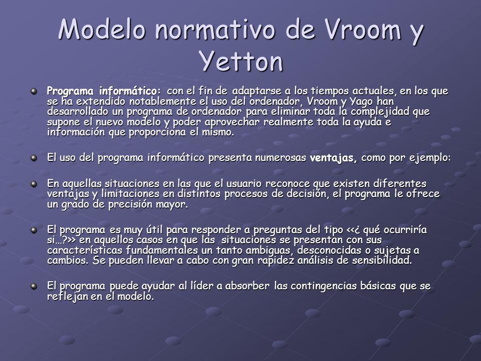 Modelo normativo de Vroom y Yetton Programa informático: con el fin de adaptarse a los tiempos actuales, en los que se ha extendido notablemente el us