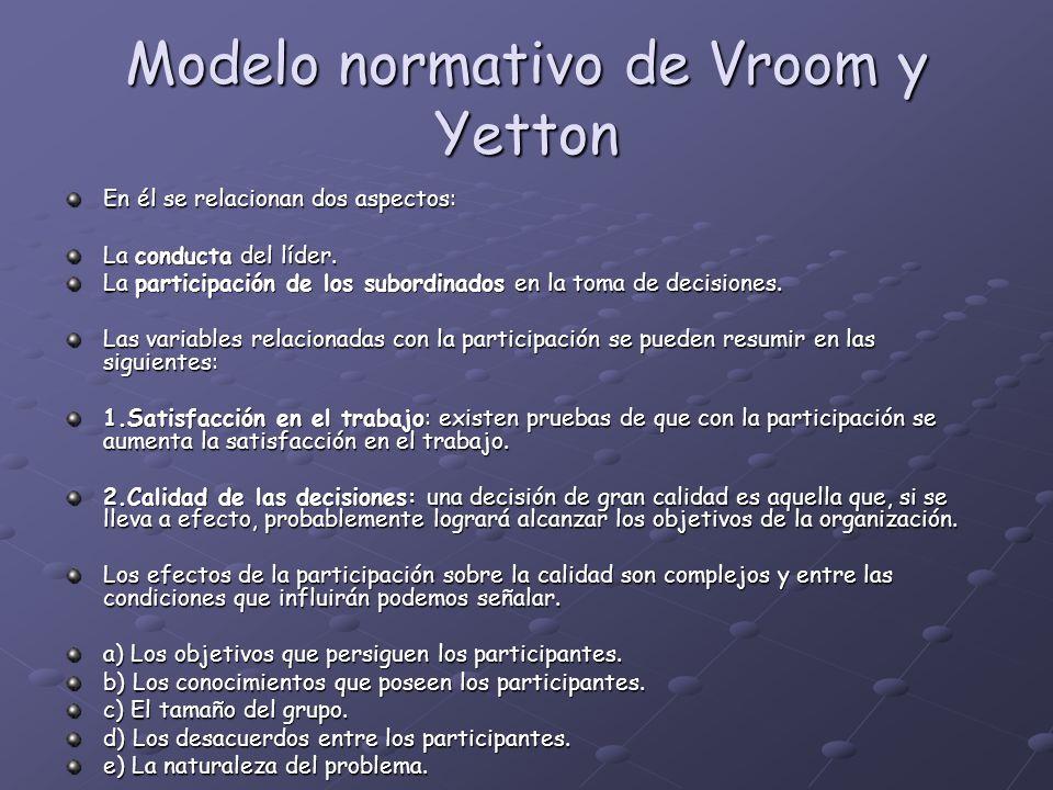 Modelo normativo de Vroom y Yetton En él se relacionan dos aspectos: La conducta del líder. La participación de los subordinados en la toma de decisio