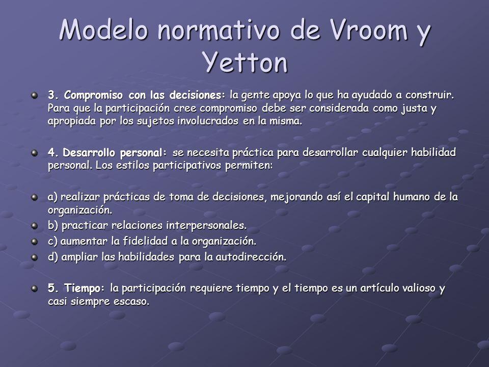 Modelo normativo de Vroom y Yetton 3. Compromiso con las decisiones: la gente apoya lo que ha ayudado a construir. Para que la participación cree comp