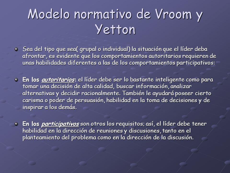 Modelo normativo de Vroom y Yetton Sea del tipo que sea( grupal o individual) la situación que el líder deba afrontar, es evidente que los comportamie