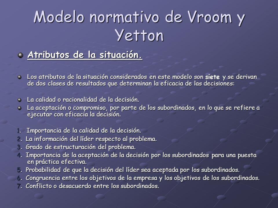 Modelo normativo de Vroom y Yetton Atributos de la situación. Los atributos de la situación considerados en este modelo son siete y se derivan de dos