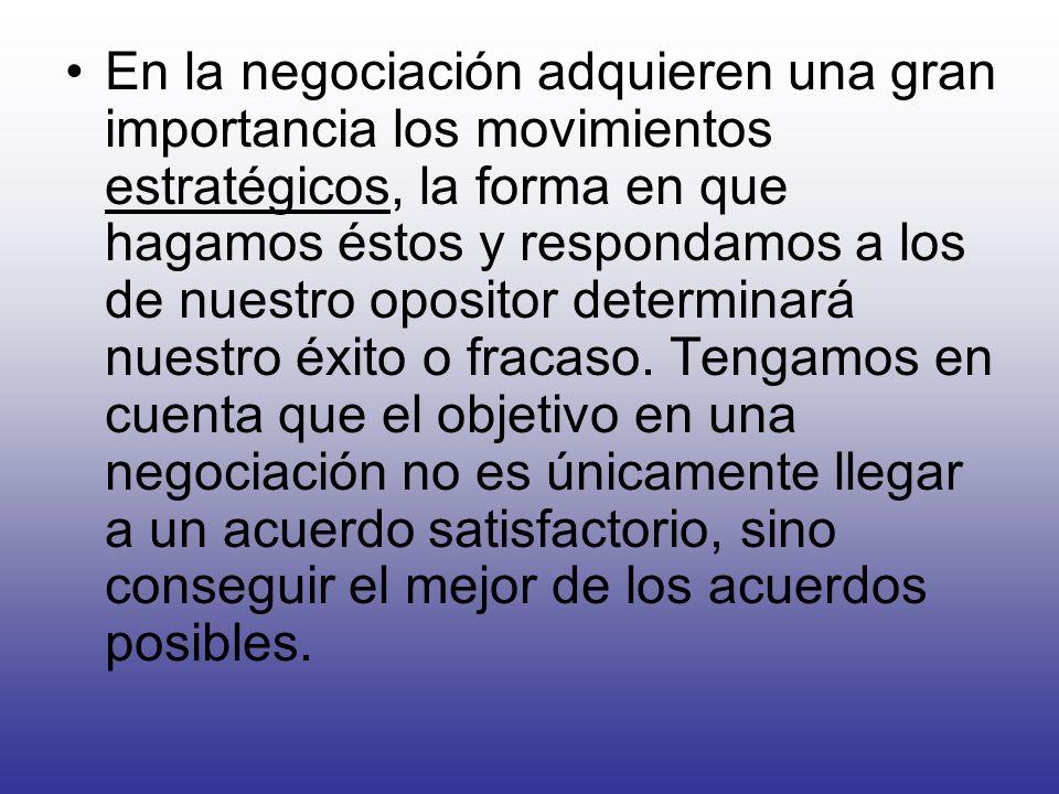 En la negociación adquieren una gran importancia los movimientos estratégicos, la forma en que hagamos éstos y respondamos a los de nuestro opositor determinará nuestro éxito o fracaso.