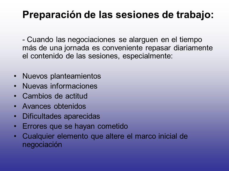 Preparación de las sesiones de trabajo: - Cuando las negociaciones se alarguen en el tiempo más de una jornada es conveniente repasar diariamente el c