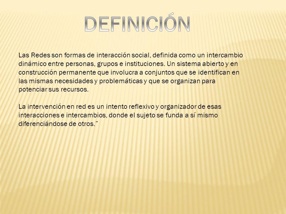 Las Redes son formas de interacción social, definida como un intercambio dinámico entre personas, grupos e instituciones. Un sistema abierto y en cons