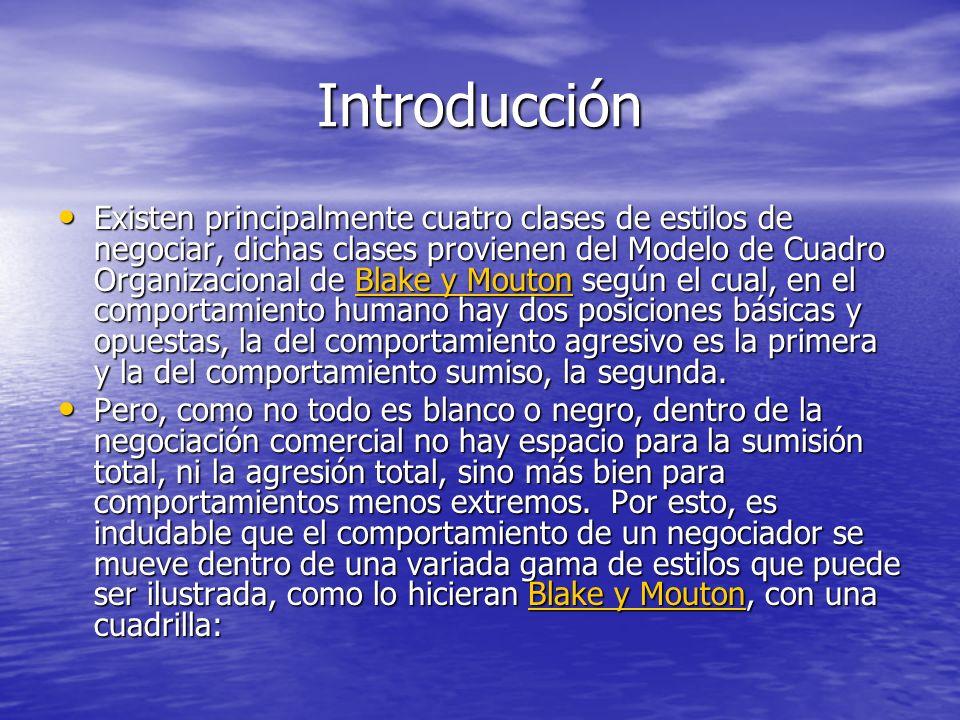 Introducción Existen principalmente cuatro clases de estilos de negociar, dichas clases provienen del Modelo de Cuadro Organizacional de Blake y Mouto