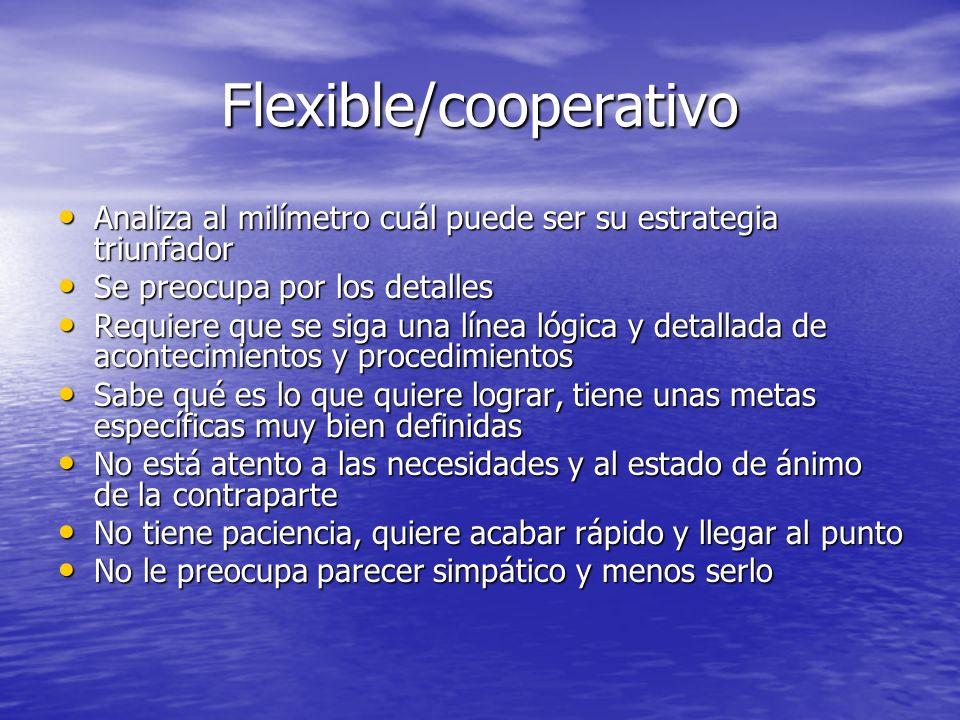 Flexible/cooperativo Analiza al milímetro cuál puede ser su estrategia triunfador Analiza al milímetro cuál puede ser su estrategia triunfador Se preo