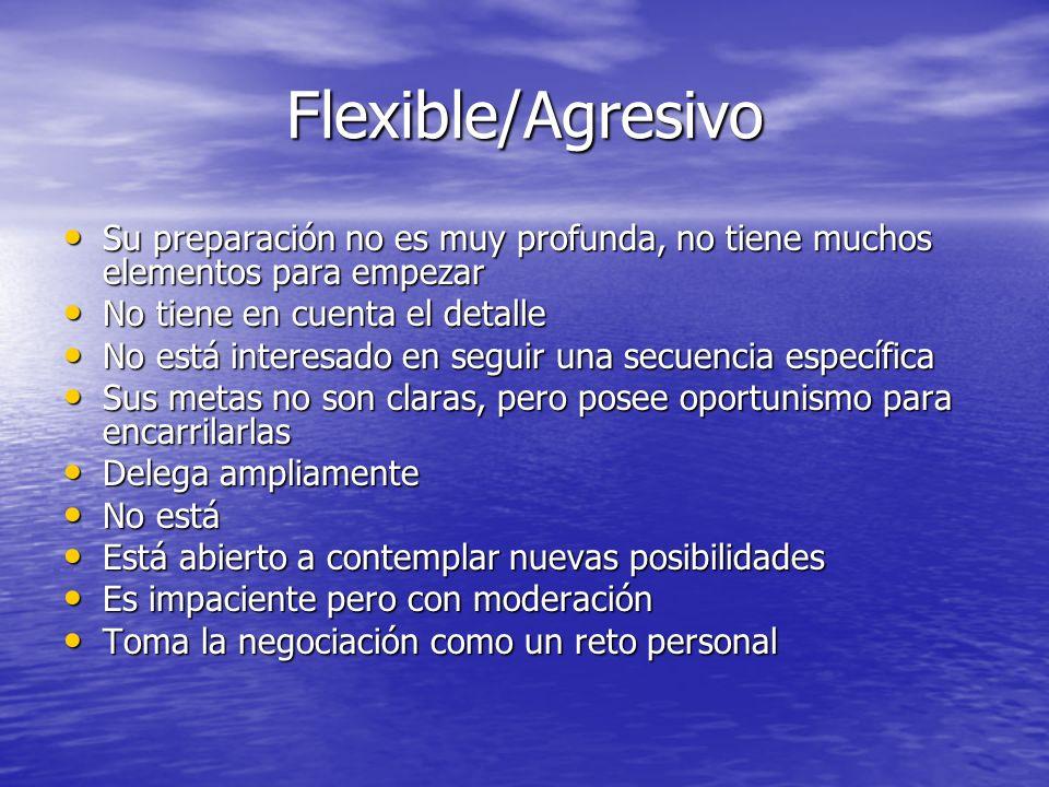 Flexible/Agresivo Su preparación no es muy profunda, no tiene muchos elementos para empezar Su preparación no es muy profunda, no tiene muchos element