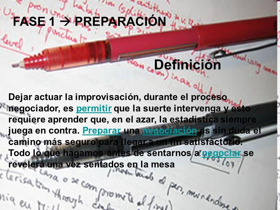 FASE 1 PREPARACIÓN Definición Dejar actuar la improvisación, durante el proceso negociador, es permitir que la suerte intervenga y esto requiere apren