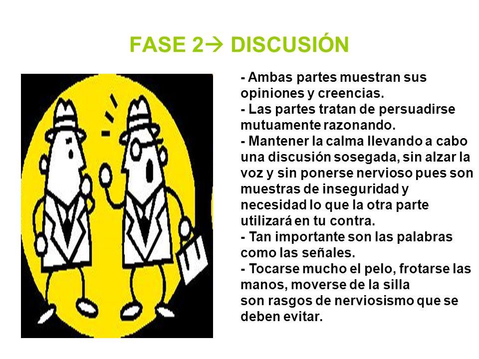 FASE 2 DISCUSIÓN - Ambas partes muestran sus opiniones y creencias. - Las partes tratan de persuadirse mutuamente razonando. - Mantener la calma lleva