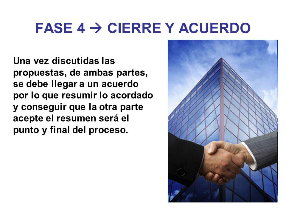 FASE 4 CIERRE Y ACUERDO Una vez discutidas las propuestas, de ambas partes, se debe llegar a un acuerdo por lo que resumir lo acordado y conseguir que