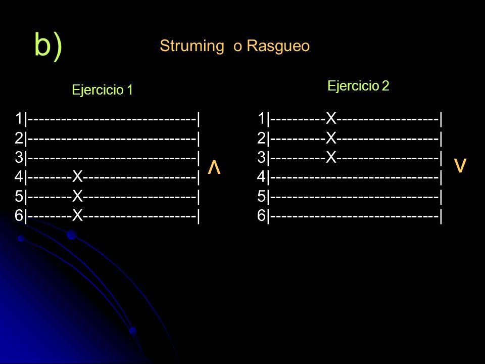 c) Struming o Rasgueo v v 1 -----------------X------------  2 -----------------X------------  3 -----------X----------X------  4 -----------X----------X------  5 ----X-------------------------  6 ----X-------------------------  Ejercicio 1 1 2 3 4 Nota : los números en la parte inferior del dibujo representan el orden en el cual debe ejecutarse el ejercicio