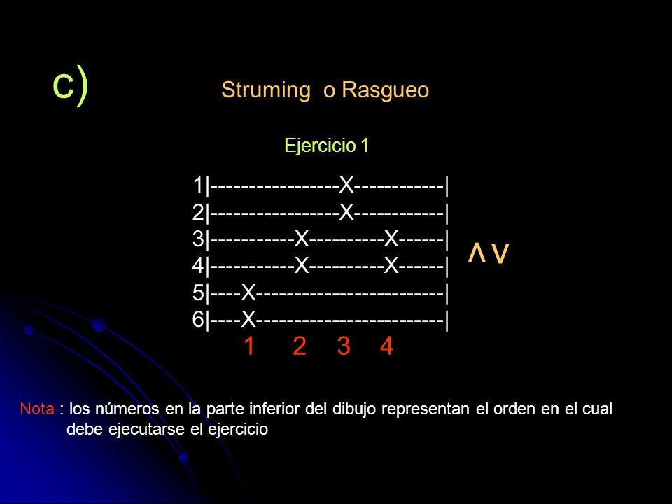 c) Struming o Rasgueo v v 1|-----------------X------------| 2|-----------------X------------| 3|-----------X----------X------| 4|-----------X---------