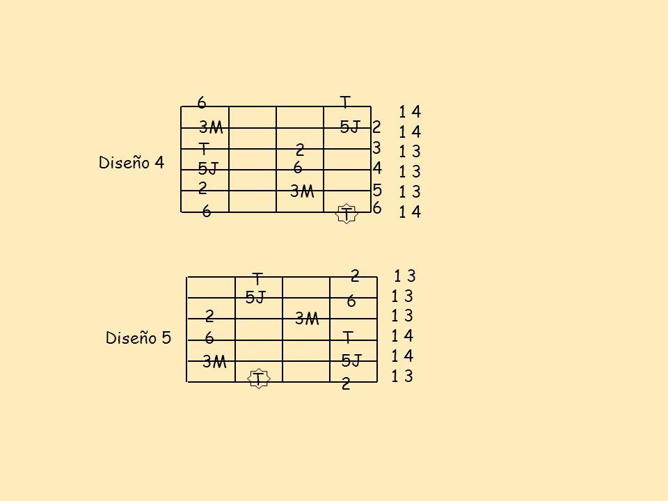Diseño 4 2 3 4 5 6 3M T 5J 2 3M 2 5J T 6 6 Diseño 5 2 3M 5J 3M 6 T 5J 2 T 6 6T T 2 1 4 1 3 1 4 1 3 1 4 1 3