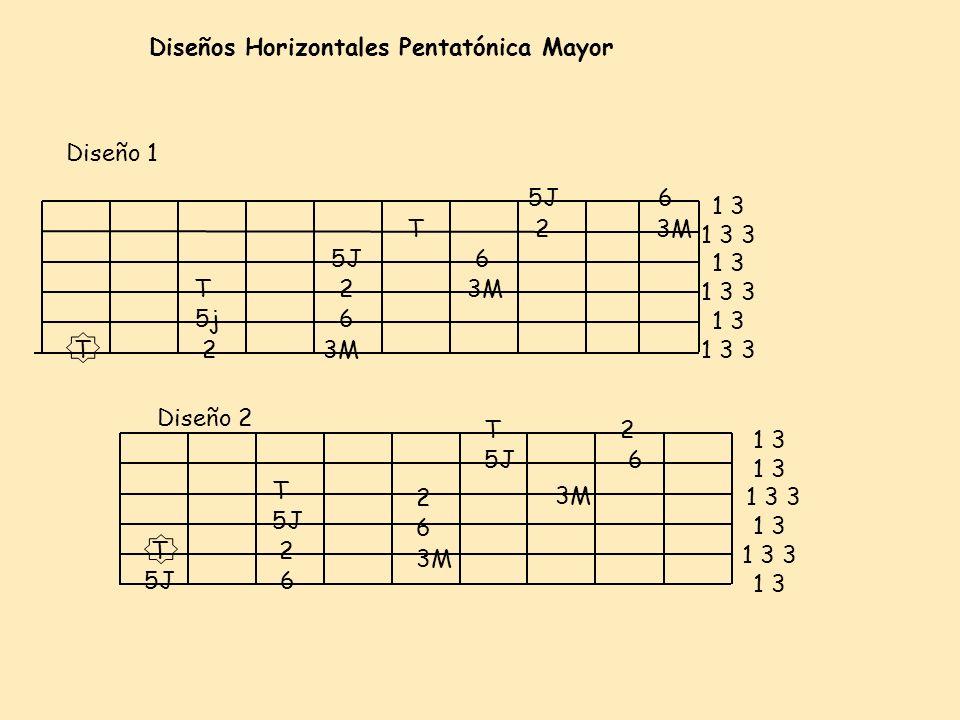 Diseños Horizontales Pentatónica Mayor Diseño 2 Diseño 1 3M 6 T2 5J T T 2 5j 3M 6 5J 2 T 6 6 T2 2 3M 6 65J T2 3M 1 3 1 3 3 1 3 1 3 3 1 3 1 3 3 1 3 1 3