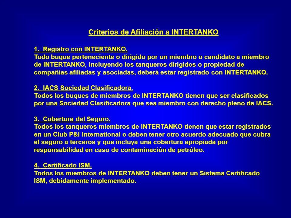 Criterios de Afiliación a INTERTANKO 1. Registro con INTERTANKO. Todo buque perteneciente o dirigido por un miembro o candidato a miembro de INTERTANK