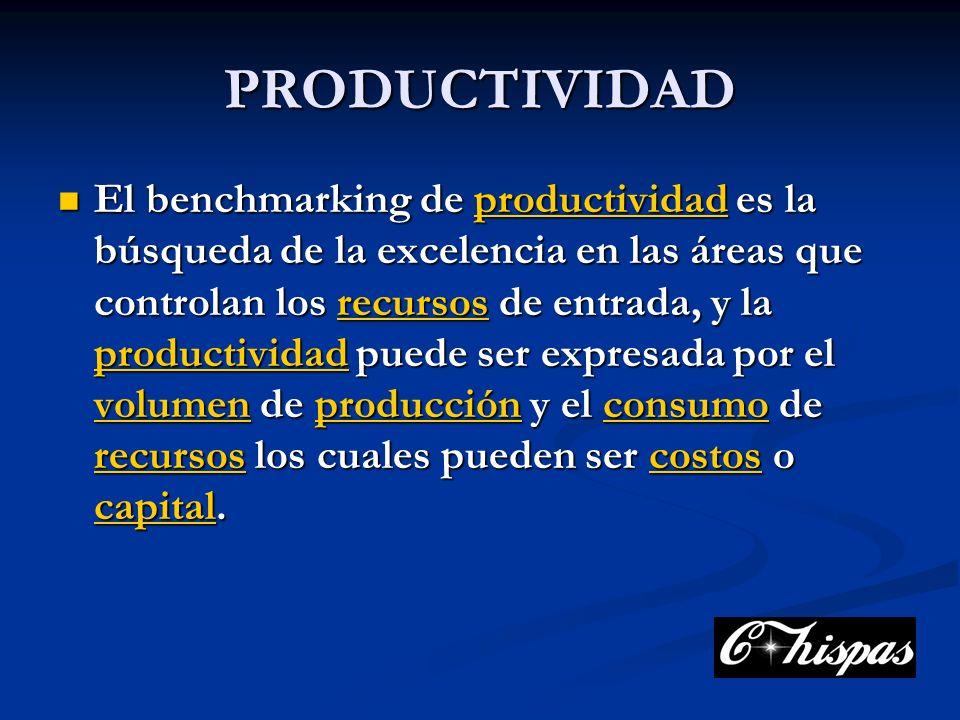 PRODUCTIVIDAD El benchmarking de productividad es la búsqueda de la excelencia en las áreas que controlan los recursos de entrada, y la productividad puede ser expresada por el volumen de producción y el consumo de recursos los cuales pueden ser costos o capital.